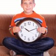 Stock Photo: Young with clock