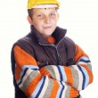 Boy wearing yellow protective helmet — Stock Photo #8894270