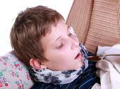 Sick child accepts medicine — Stock Photo