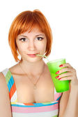 Red woman with drink — Stock Photo