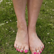 Female feet on grass lawn with flowers — Stock Photo #9465593