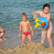 Happy children at beach — 图库照片 #8339082