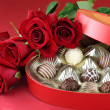 Candy and Roses — Stock Photo