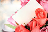Roses and Card — Stock Photo