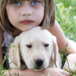 Stock Photo: Little Girl and Her Puppy