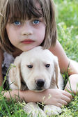 Little Girl and Her Puppy — Stock Photo