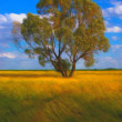 Landscape painting showing lonely tree in the middle of the meadow on sunny spring day — Stock Photo #10183290