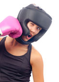 Kick boxer girl punched in the face with pink boxing glove — Stock Photo
