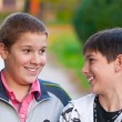 Two teenage boys laughing and kidding in the park on beautiful autumn day — Stock Photo #8009968