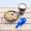 Muesli and milk for the healthy breakfast — Stock Photo