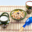 Muesli and milk for the healthy breakfas — Stock Photo