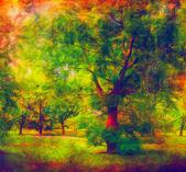 Paisagem pintura mostrando a floresta colorida no dia de verão ensolarado — Fotografia Stock