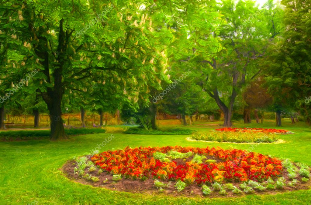 Landscape painting showing beautiful park with flower garden  Stock Photo #8188631