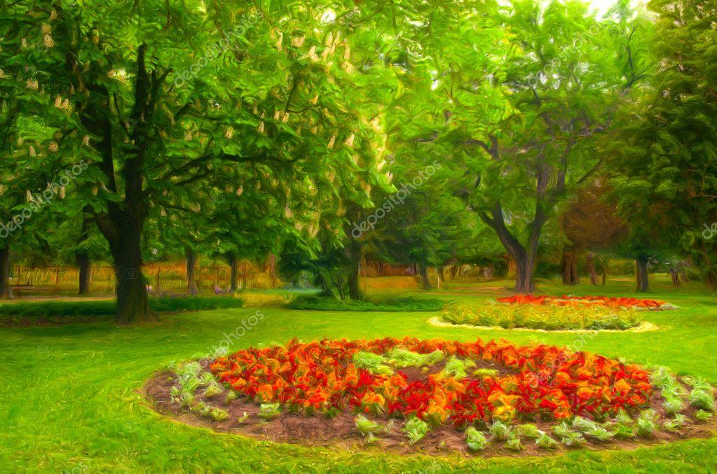 peinture de paysage montrant le tr s beau parc et jardin fleuri photo 8188631. Black Bedroom Furniture Sets. Home Design Ideas
