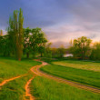 Landscape painting done by me showing intersecting roads — Stock Photo