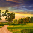 Beautiful landscape painting showing road, trees, meadow and stormy clouds - Stock Photo