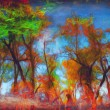 Landscape painting showing all the beauty of the autumn colors — Stock Photo