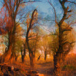 Landscape painting showing old forest at dusk - Stock Photo