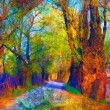 Landscape painting showing road through the forest on bright autumn day — Stockfoto