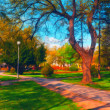 Landscape painting showing beautiful park in autumn — Stock Photo #8228476