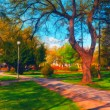Landscape painting showing beautiful park in autumn — Stock Photo