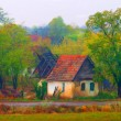 Landscape painting showing demolished house in the village on cloudy autumn — Stock Photo