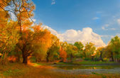 Landscape painting showing wild forest on sunny autumn day — Stock Photo