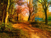 Landscape painting showing all the beauty of natures colors — Stock Photo
