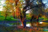 Paisaje de árboles muestra de pintura en el borde del río — Foto de Stock