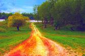 Muestra de pintura de paisaje camino que conduce a la orilla del río — Foto de Stock