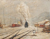 Oil painting representing old train station and coal powered locomotive — Stock Photo