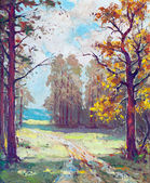 Oil painting showing road that leads out from the forest — Stock Photo