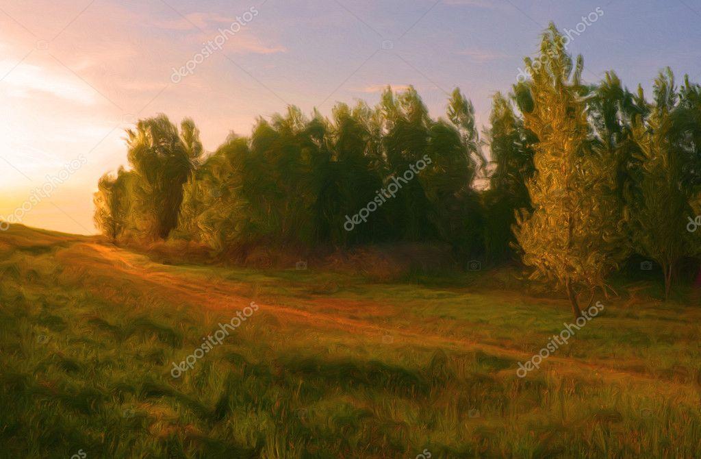 Фотообои Пейзажная живопись сделано мной, показывая красивый оранжевый солнечный свет, падающий на