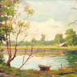 Oil painting showing beautiful forest landscape, with boat, lake - Stock Photo