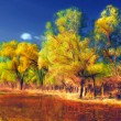 Landscape painting showing forest beside the water on a sunny autumn day — Stock Photo