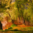 Landscape painting showing wild forest lit by the early morning sun — Stock Photo