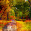 Landscape painting showing beautiful park in the autumn — Stock Photo