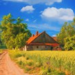 Stock Photo: Landscape painting showing house at country side