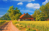 Landscape painting showing house at country side — Stock Photo