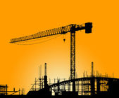 Silhouette of the tower crane on the construction site — Stock Photo