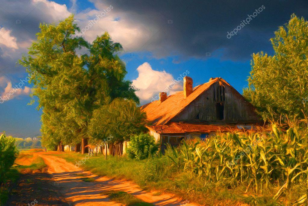 Peinture de paysage montrant belle ancienne maison de for Case di campagna progettano l australia