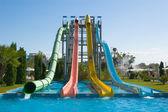 Water slides in aqua park — Stock Photo