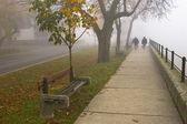 Dos mayores caminar a lo largo del río que está oculto por una gruesa niebla otoño, — Foto de Stock