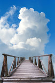 Old wooden bridge leads to the unknown — Stock Photo