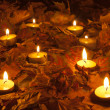 Candle flames lighting the bed of dry leaves on beautiful autumn night - Stockfoto