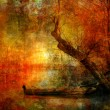 Постер, плакат: Creepy colorful landscape painting showing boat on the river