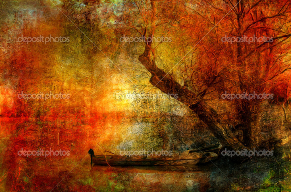 Creepy colorful landscape painting showing boat on the river under the old tree on dark autumn day — Stock Photo #8456006