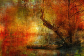 Art grunge creepy landscape showing boat on the river and old tree — Stock Photo