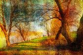 Paisaje de grunge de arte mostrando los árboles junto al río hermoso día de otoño — Foto de Stock