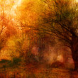 Landscape painting showing creepy forest on dark autumn day — Stock Photo